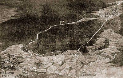 Pohled nazávodní trať aokolí zptačí perspektivy (1925) (Nakreslil Jandík)